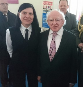 The President of Republic of Ireland and Dorota Kasperska at the ceremony for Opening of Military Archives in Cathal Brugha barracks on the 26th April 2016.