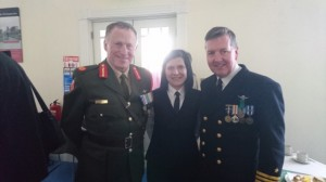 From Left to Right, Brig. Gen. Michael Beary, Dorota Kasperska, Vice Admiral Mark Mellet during the ceremony for Opening of Military Archives in Cathal Brugha barracks on the 26th April 2016.