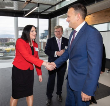 Alana Dunican (HR Director) meeting Leo Varadkar from #OpenDoorsLaunch
