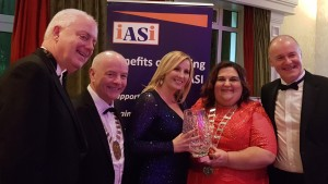 IASI Award Winner Kerry University, Overall Supreme Winner. Left to right: David Ferguson Operations Director, Cllr Frankie Keena Mayor of Athlone Sinead Grogan Healthcare Operations Manager, Innes Guerra IASI President, David Ferguson Operations Director.