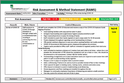 Click here to download Example Office COVID-19 Risk Assessment