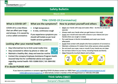 Click to download safety Bulletin